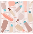 Seamless pattern with cosmetics bottles and text vector image vector image