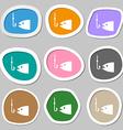 Fishing icon symbols Multicolored paper stickers vector image