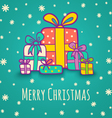 Christmas gifts blue vector image