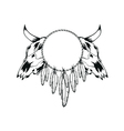 skulls bull and tambourine vector image