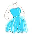 sketch girl blue dress vector image
