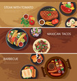 street food web banner steak tacos bbq vector image