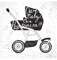 stroller with lettering Our baby our happiness vector image