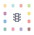 traffic light flat icons set vector image