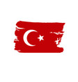 turkey flag painted by brush hand paints art flag vector image