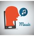 man headphone music sound vector image