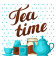 tea time with cup of tea kettle vector image vector image