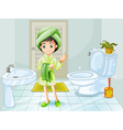A fresh young girl at the bathroom vector image