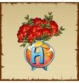 Glass vase with mountain ash and letter H vector image