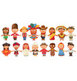 different culture standing together holding hands vector image