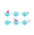 emoji sbsnowflake set vector image