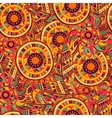 Ethnic seamless pattern with feathers and circles vector image