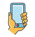 hand holding smartphone or mobile phone concept vector image