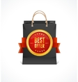 paper bag and gold label Best Offer vector image