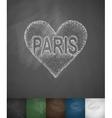 Paris in heart icon Hand drawn vector image
