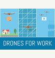 set of drones with remote control drone for vector image