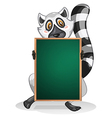 A lemur holding an empty board vector image vector image