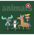animals cartoon including moose cat horse monkey vector image