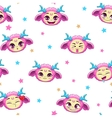 Seamless pattern with funny pink monster faces vector image