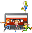 People dancing and casette tape vector image