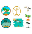 Set of palm tree vector image