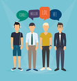 Four guys communicate Speech Bubbles with Social vector image