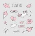 patch badges with unicorns valentines elements vector image