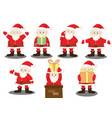santa claus various joy action with gift vector image