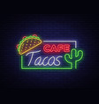 tacos logo in neon style neon sign symbol vector image