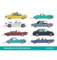 Taxi drivers car set Drivers Car creative vector image