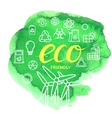 Thin outline ecological icon set on vector image