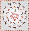 silver Christmas card with dancing deer vector image