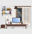 male teenager room with workplace modern man vector image