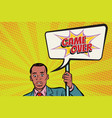 african protester businessman with a poster game vector image vector image
