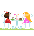 girls eating dinner vector image vector image