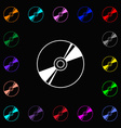 Cd DVD compact disk blue ray icon sign Lots of vector image