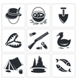 Color hunting and fishing icon collection vector image