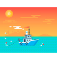 Fishing boat sunset card vector image