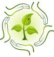 green life in hands vector vector image