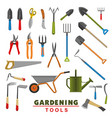 isolated icons of farm gardening tools vector image