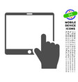 hand points mobile tablet icon with set vector image