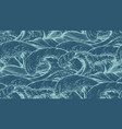 seamless pattern with hand drawn sea waves vector image