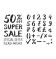 A set of signs Sale and set of numbers lettering vector image