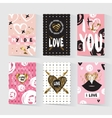 Cards with a trendy hipster print vector image