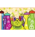 Cartoon happy owl in the fairy town vector image