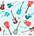Seamless pattern with guitars and text vector image