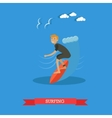 Surfer riding on ocean wave vector image