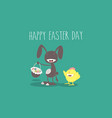 waving gray bunny with easter eggs and basket vector image