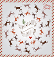 silver Christmas card with flying deer vector image vector image