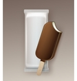 Bitten Ice Cream in Chocolate Glaze on Stick vector image